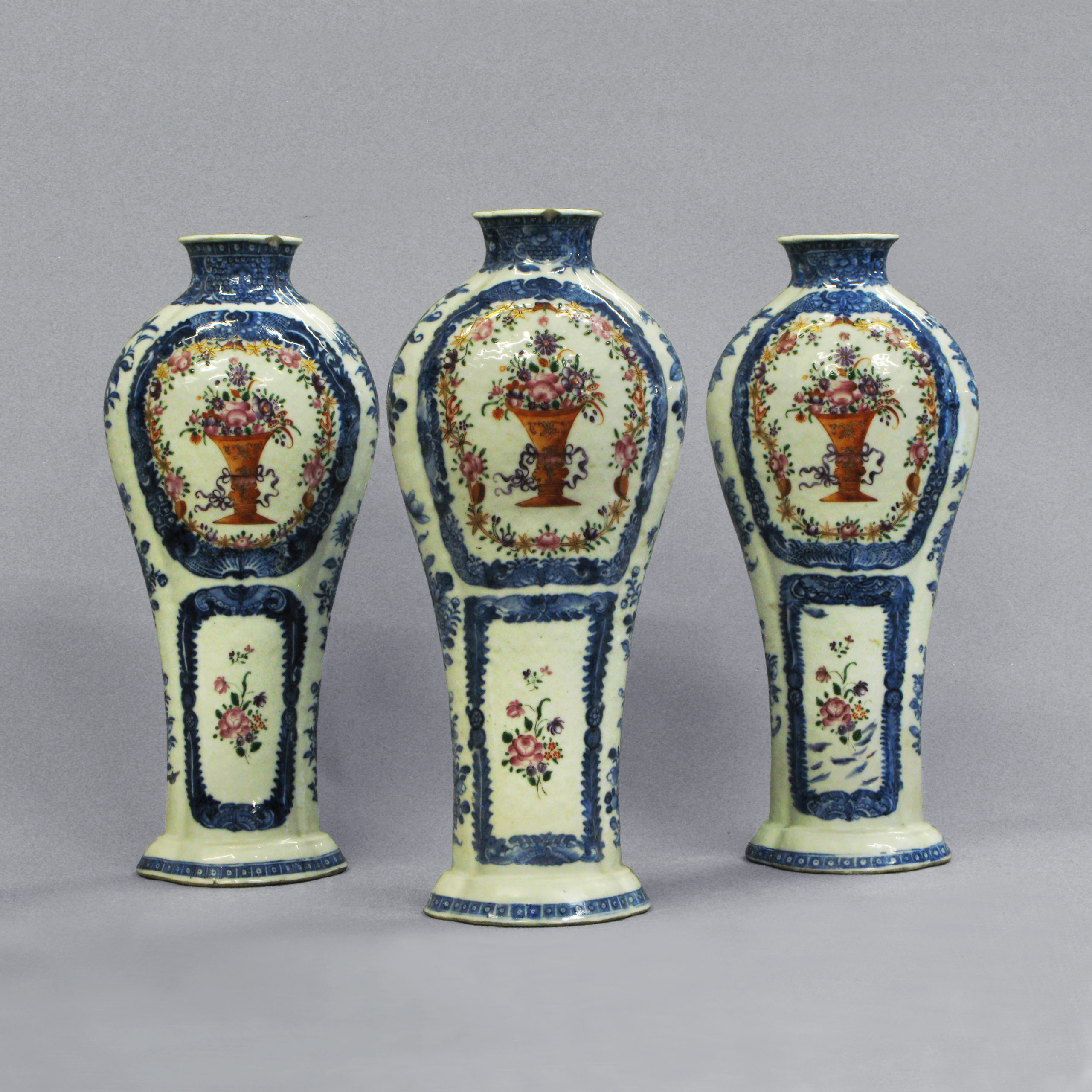A Set of Three Famille Rose Vases