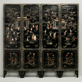 A Chinoiserie Soapstone & Lacquer Four Fold Screen