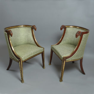 A Pair of Baltic Brass Mounted Mahogany Bergeres