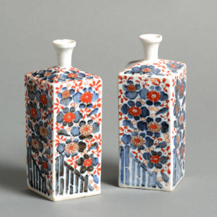A Pair of Imari Porcelain Flasks