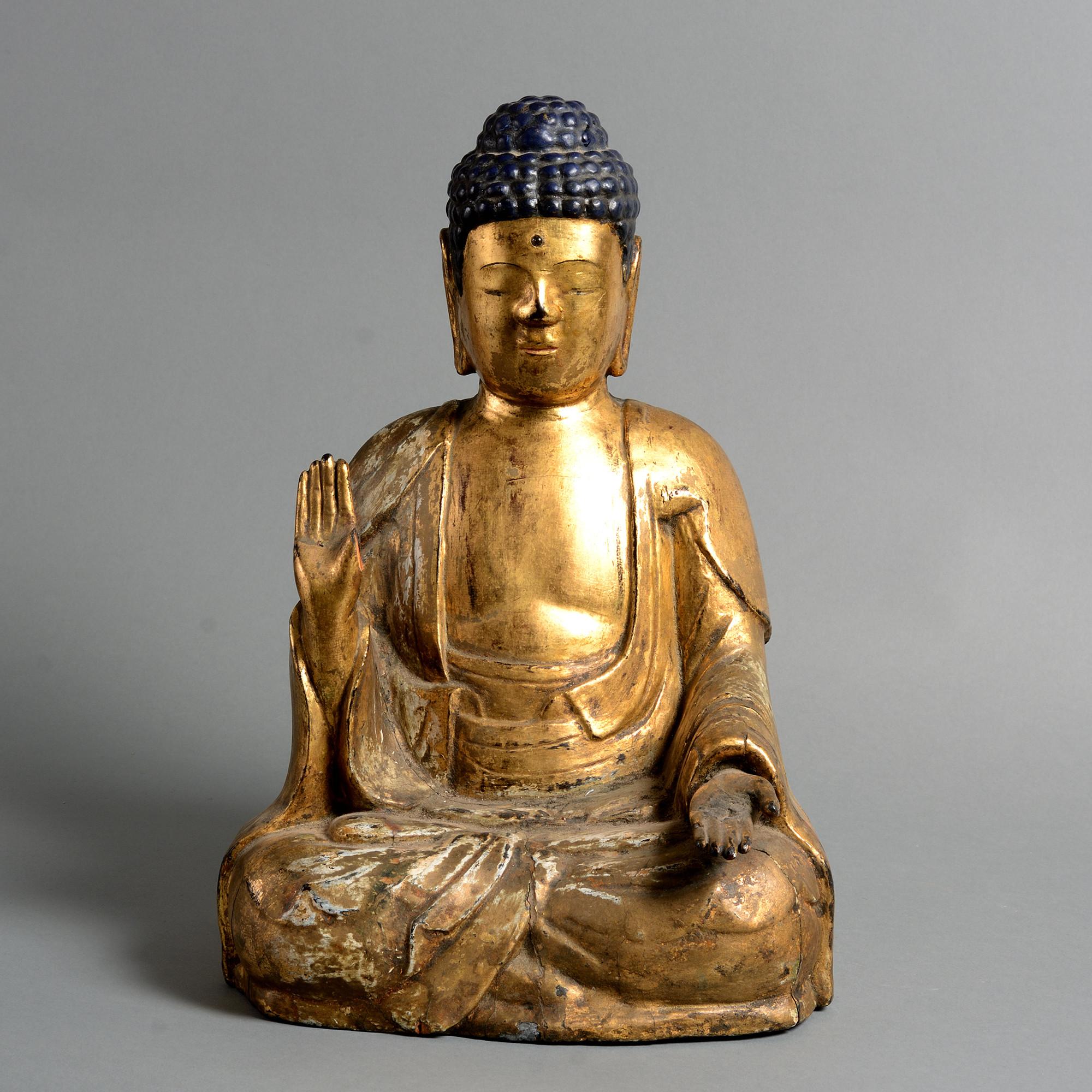 A 19th Century Giltwood Buddha