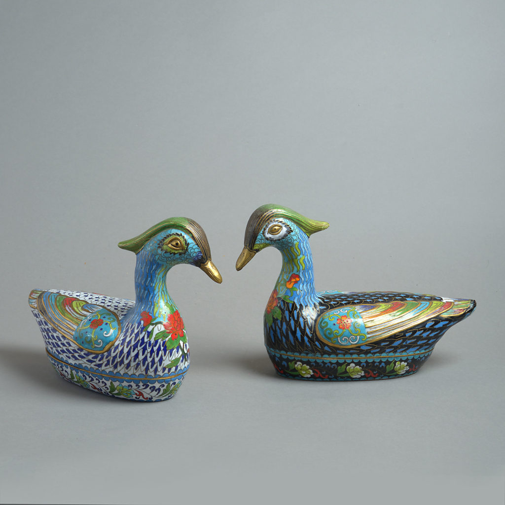 Late 19th Century Pair of Large Scale Cloisonné Duck Boxes
