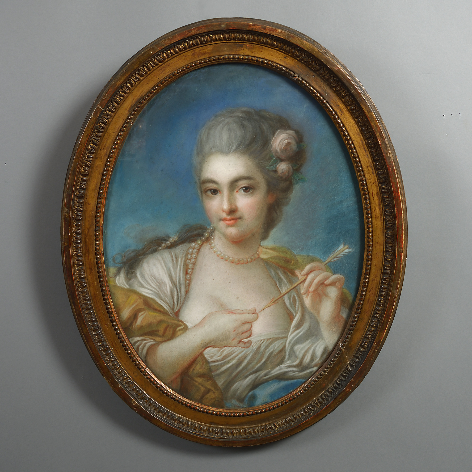 18th Century Pastel Oval Portrait of a Lady