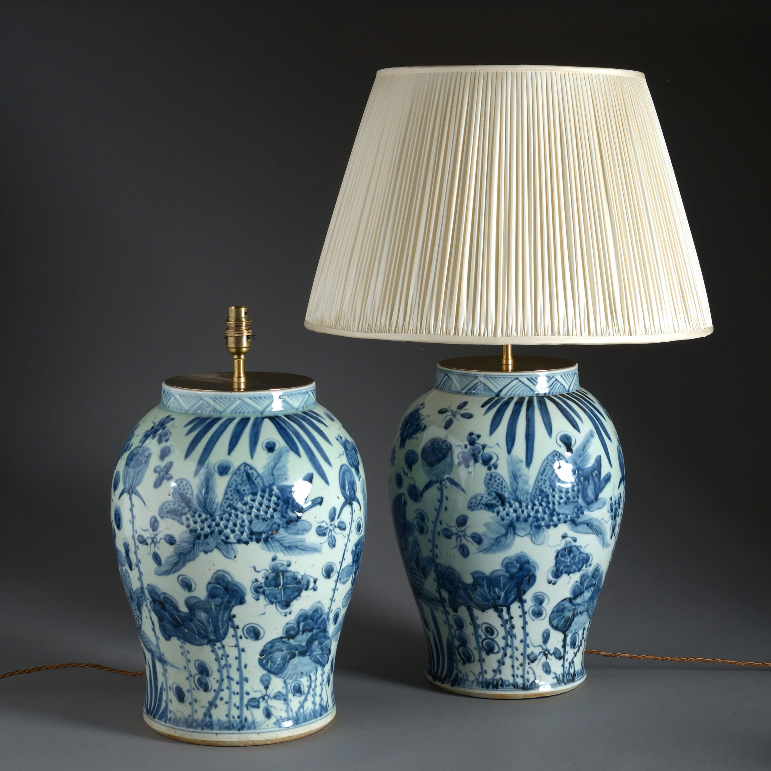 A Large Pair Of Blue White Vase Lamps Timothy Langston