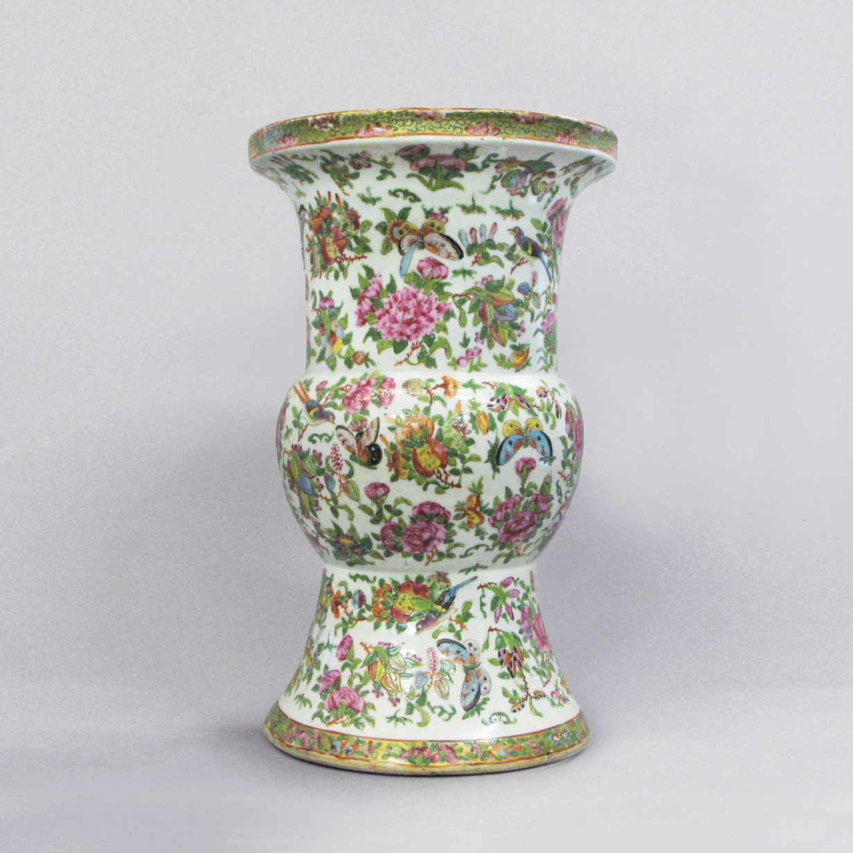 A Large Scale Qing Dynasty Famille Rose Beaker Vase