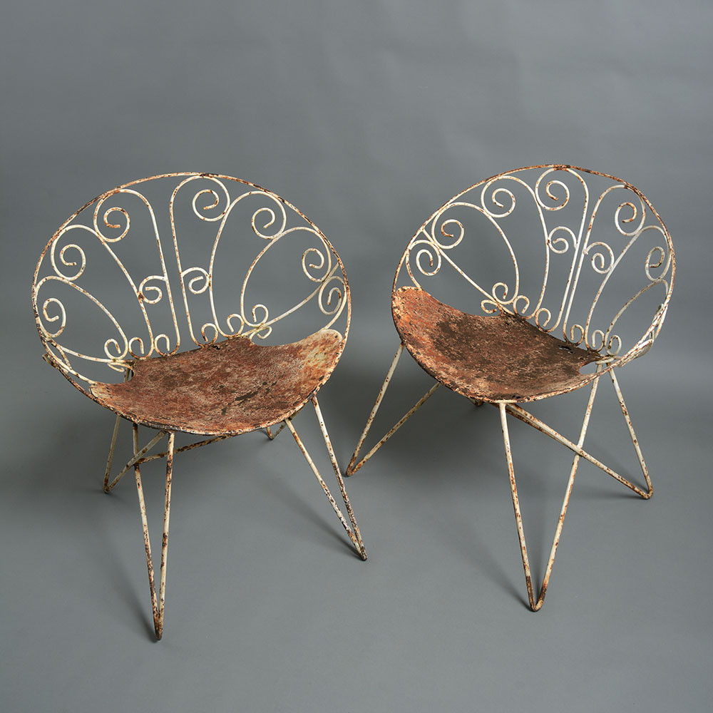 A Pair of Painted Cast Iron Mid-Century Garden Chairs ...