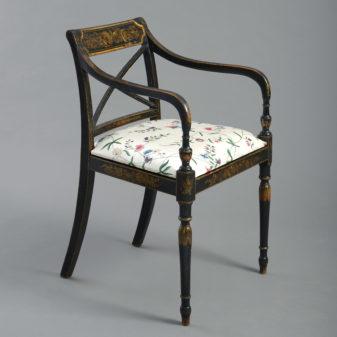 A Regency Ebonised Open Armchair