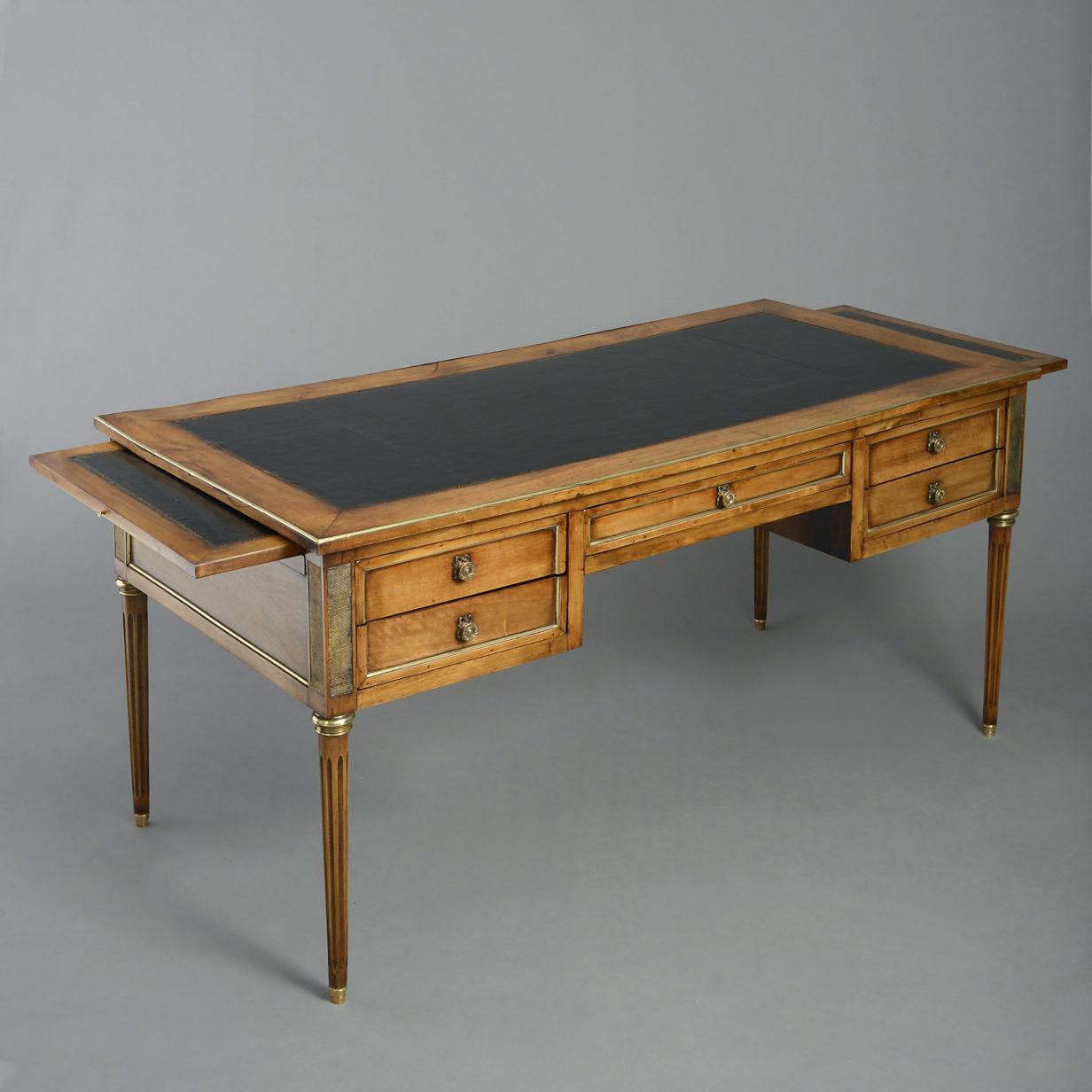 Louis XVI Style Walnut Bureau Plat
