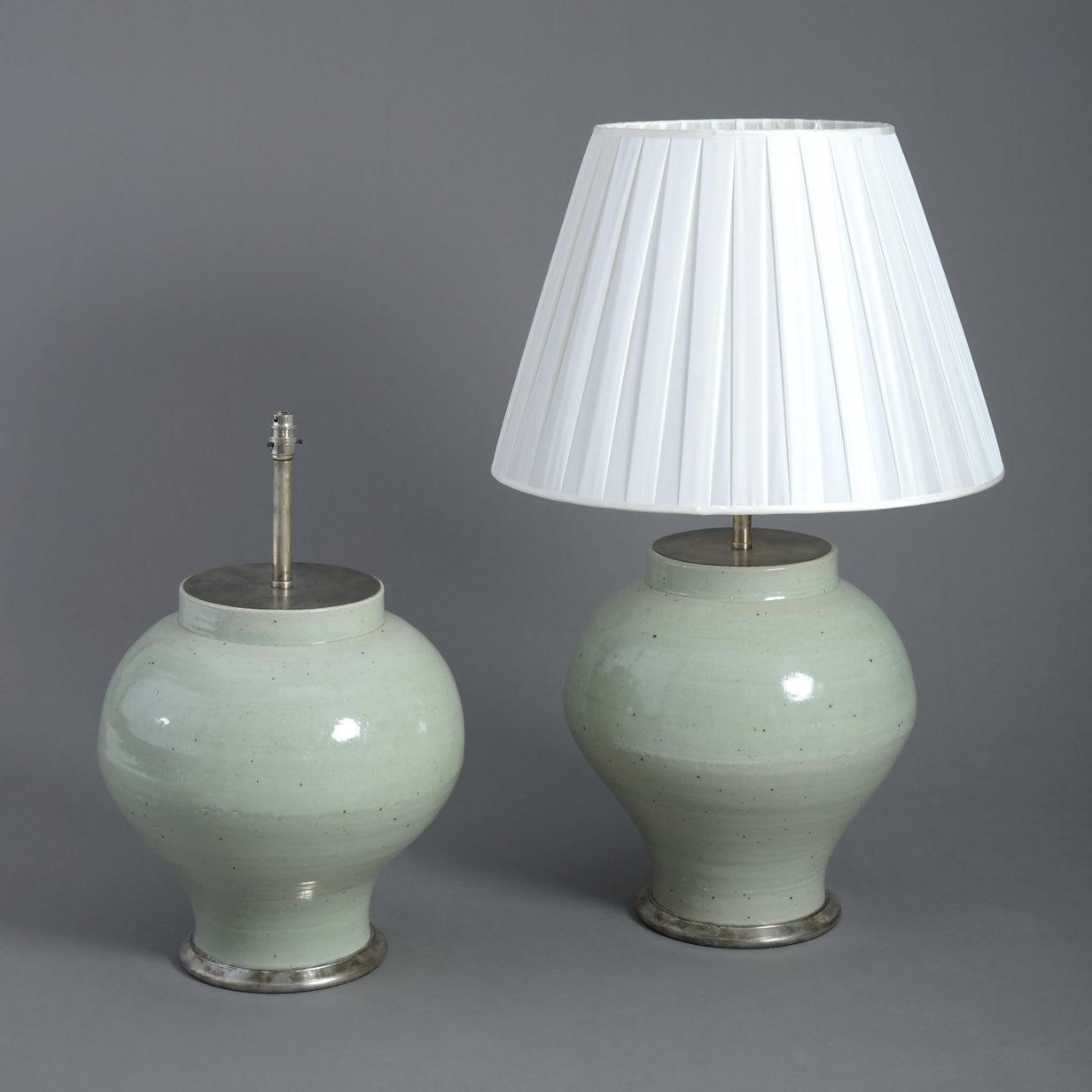 Pair of Large Celadon Vase Lamps