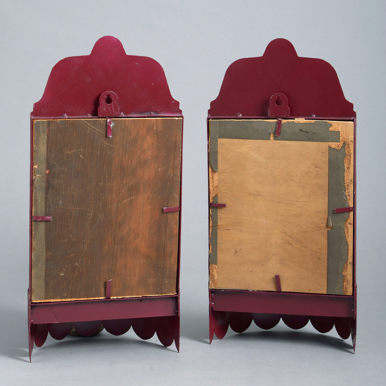 Pair of Red Tole Wall Lights