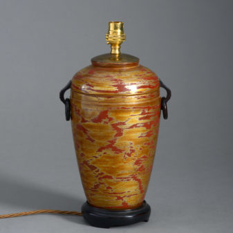 A Japanese Lacquer Vase Lamp