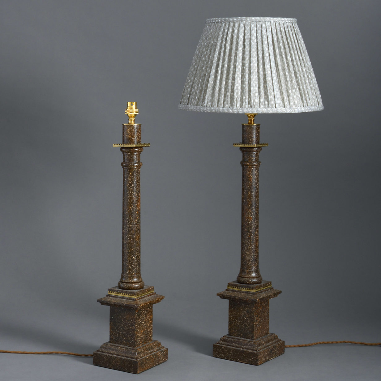 Pair of Faux Porphyry Column Lamps