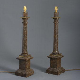 Pair of Faux Porphyry Column Lamps