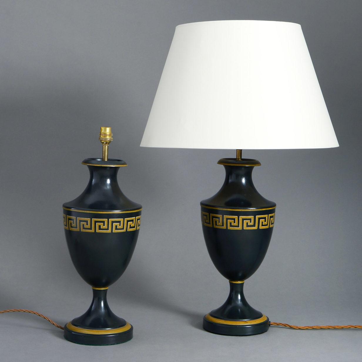 Pair of Tole Greek Key Lamps