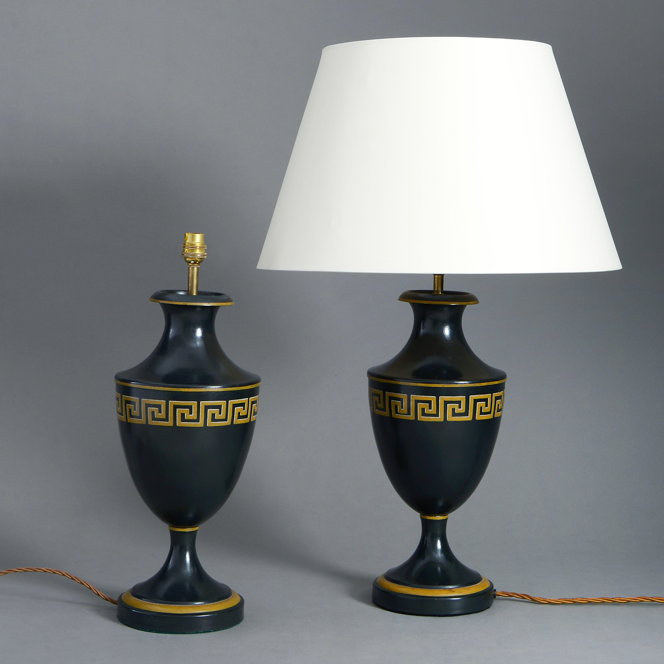 A Pair Of Black Tôle Greek Key Decorated Vase Lamps