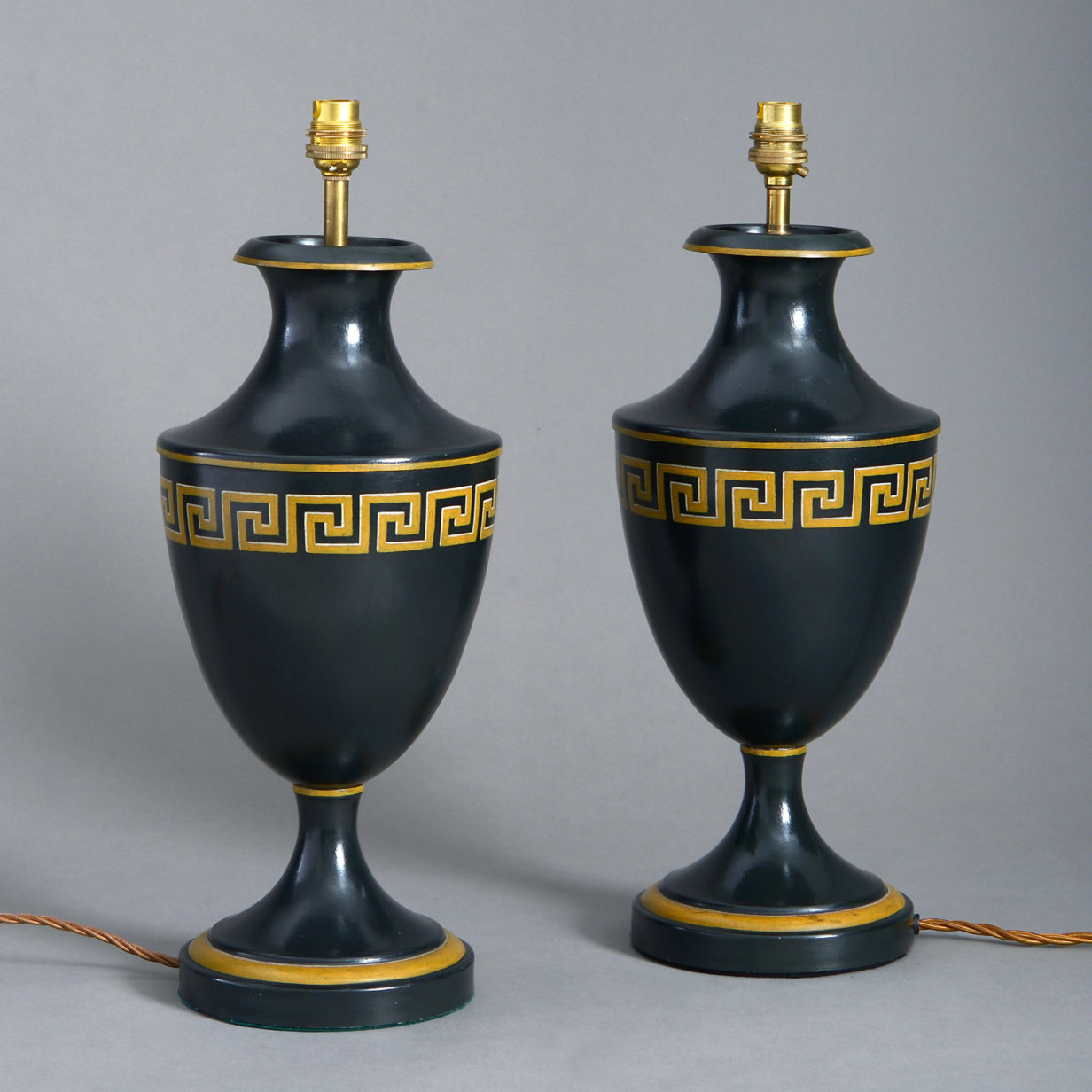 Pair of Tole Greek Key Lamps