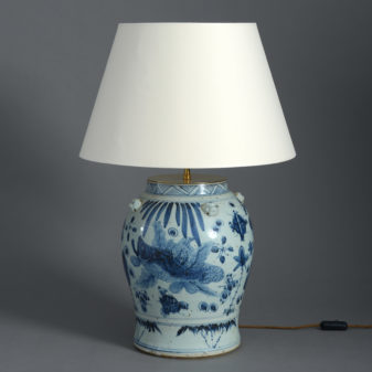 A Blue and White Vase Lamp