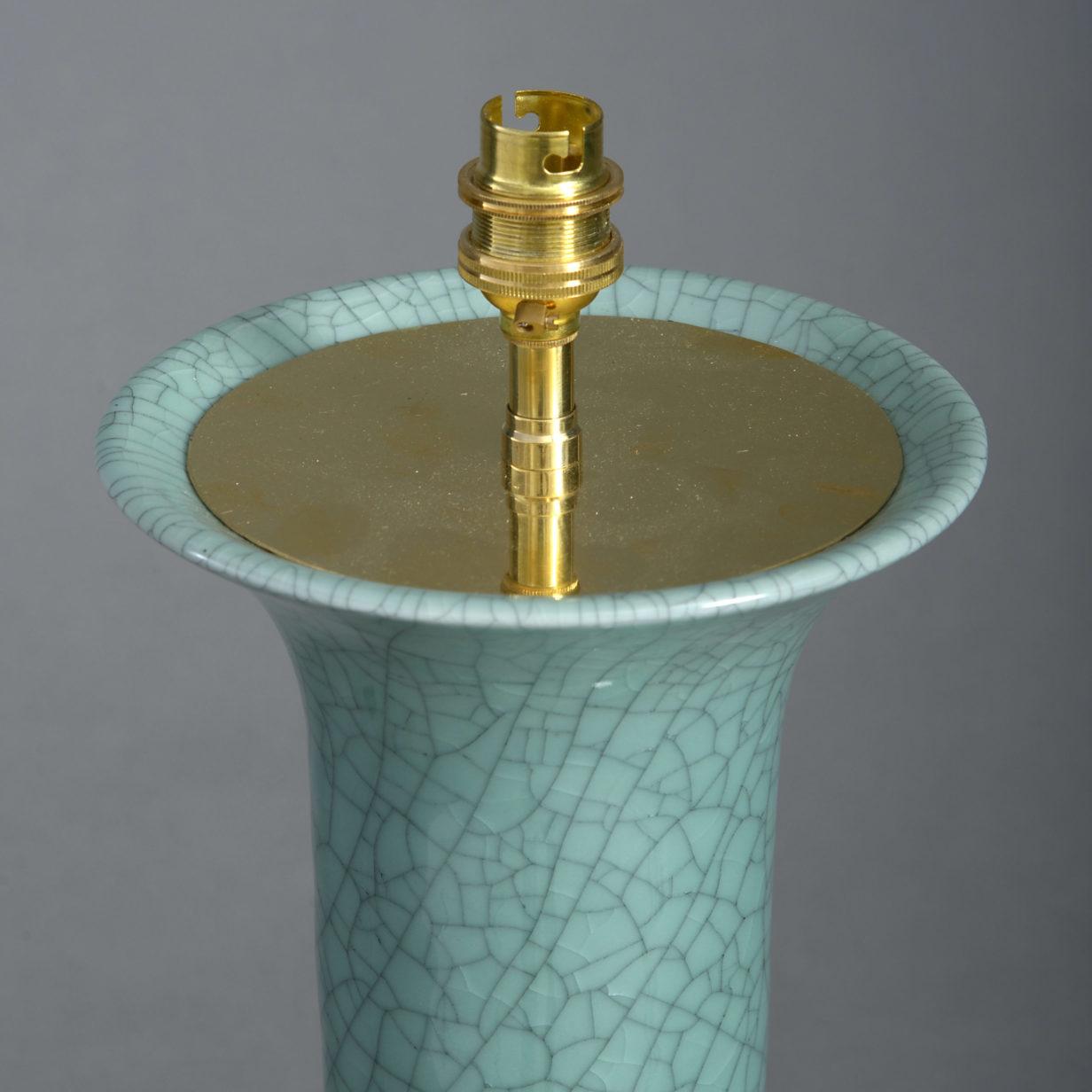 Smaller Celadon Vase Lamp