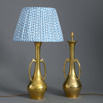 Pair of Brass Vase Lamps