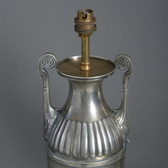 A Pair of Silvered Table Lamps