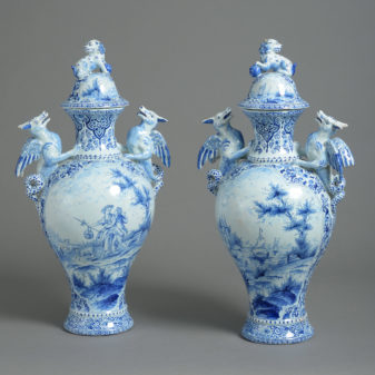 Pair of Large Delft Vases and Covers