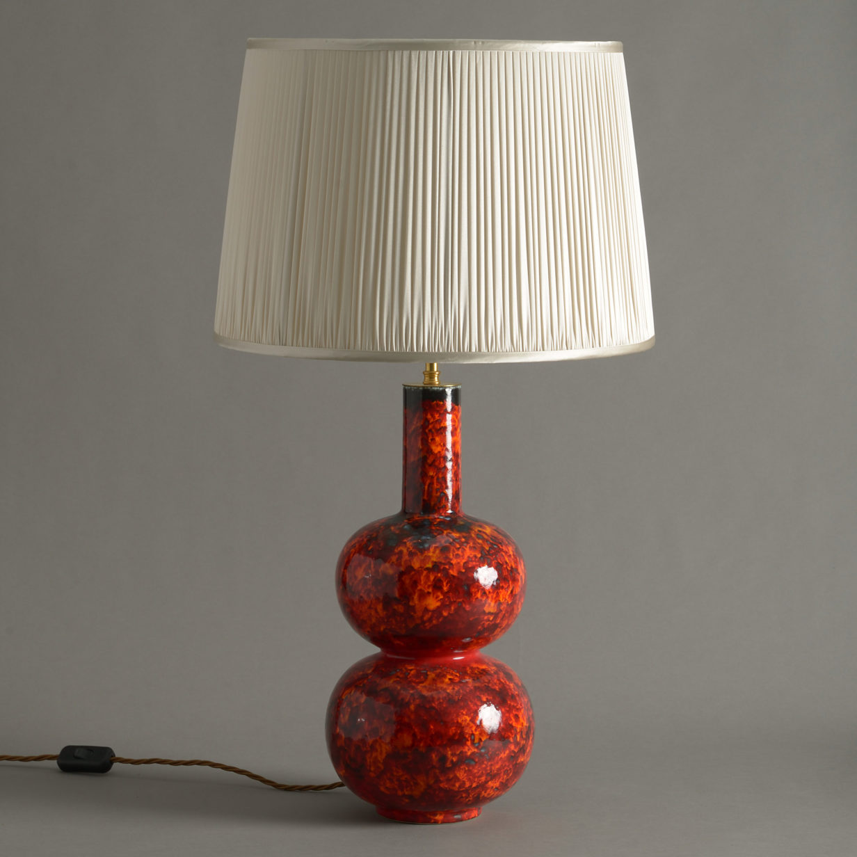 A Red Studio Pottery Vase Lamp