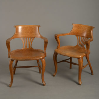 Pair of American Oak Armchairs