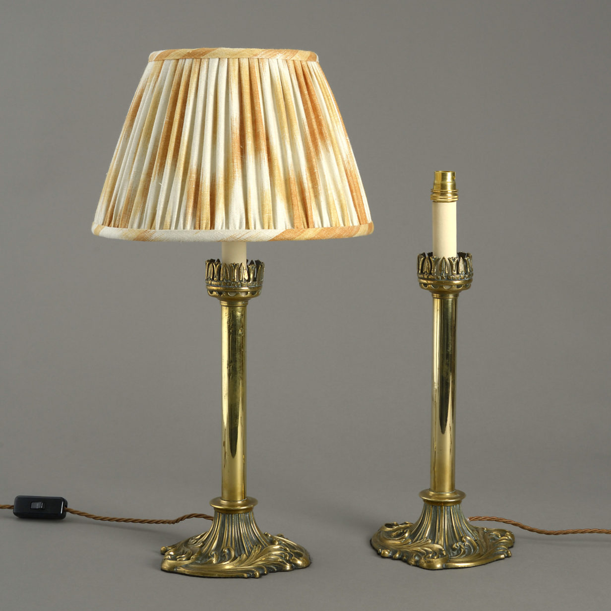 Pair Brass Candle Table Lamps