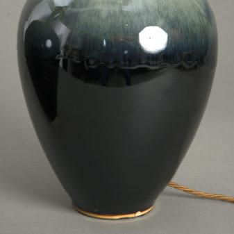 Pair of Green Flambe Lamps