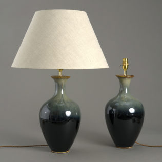 Pair of Green Flambe Lamps