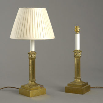Pair Gilt Brass Lamps
