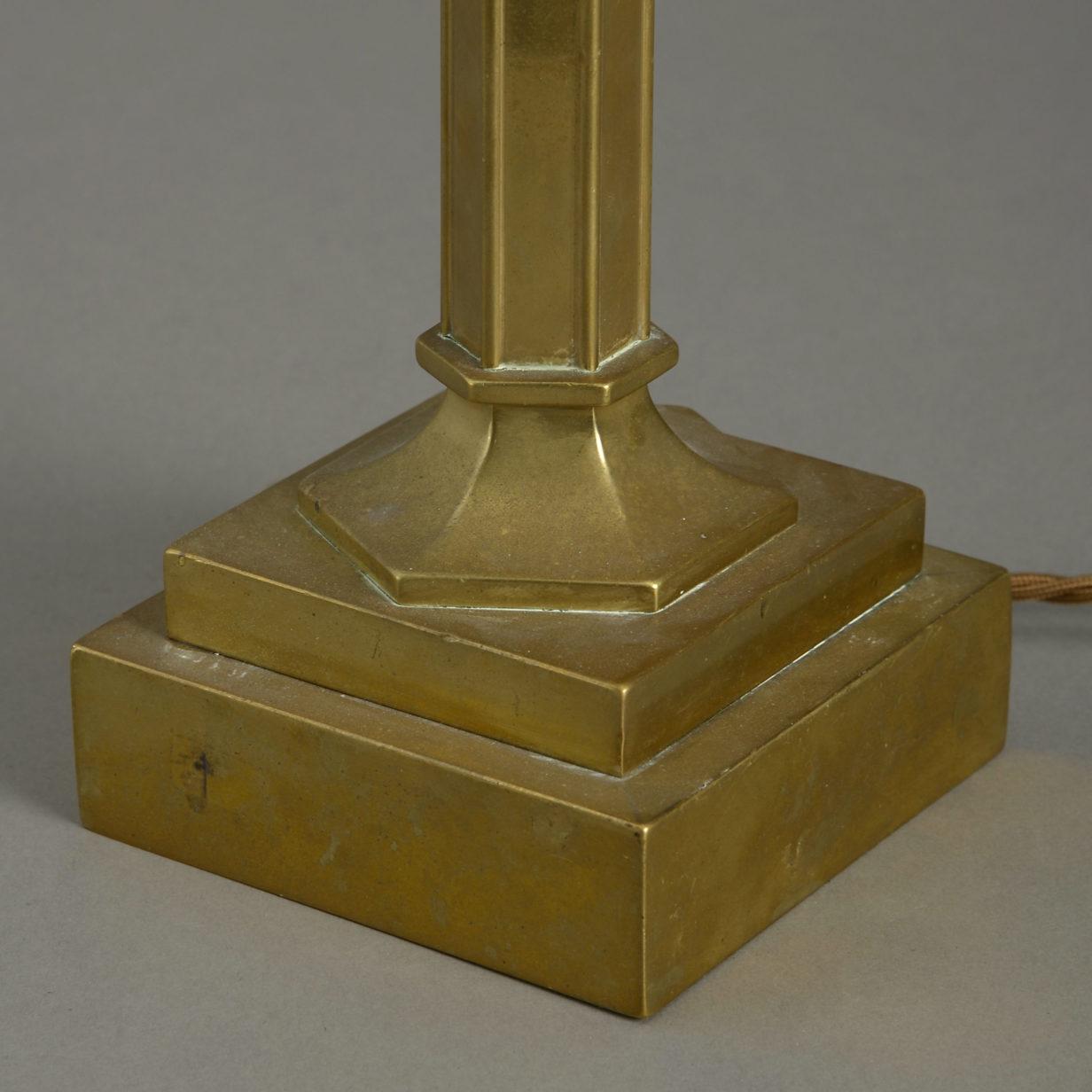 Pair Gilt Brass Lamps