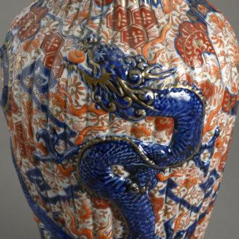 Pair Imari Dragon Vases