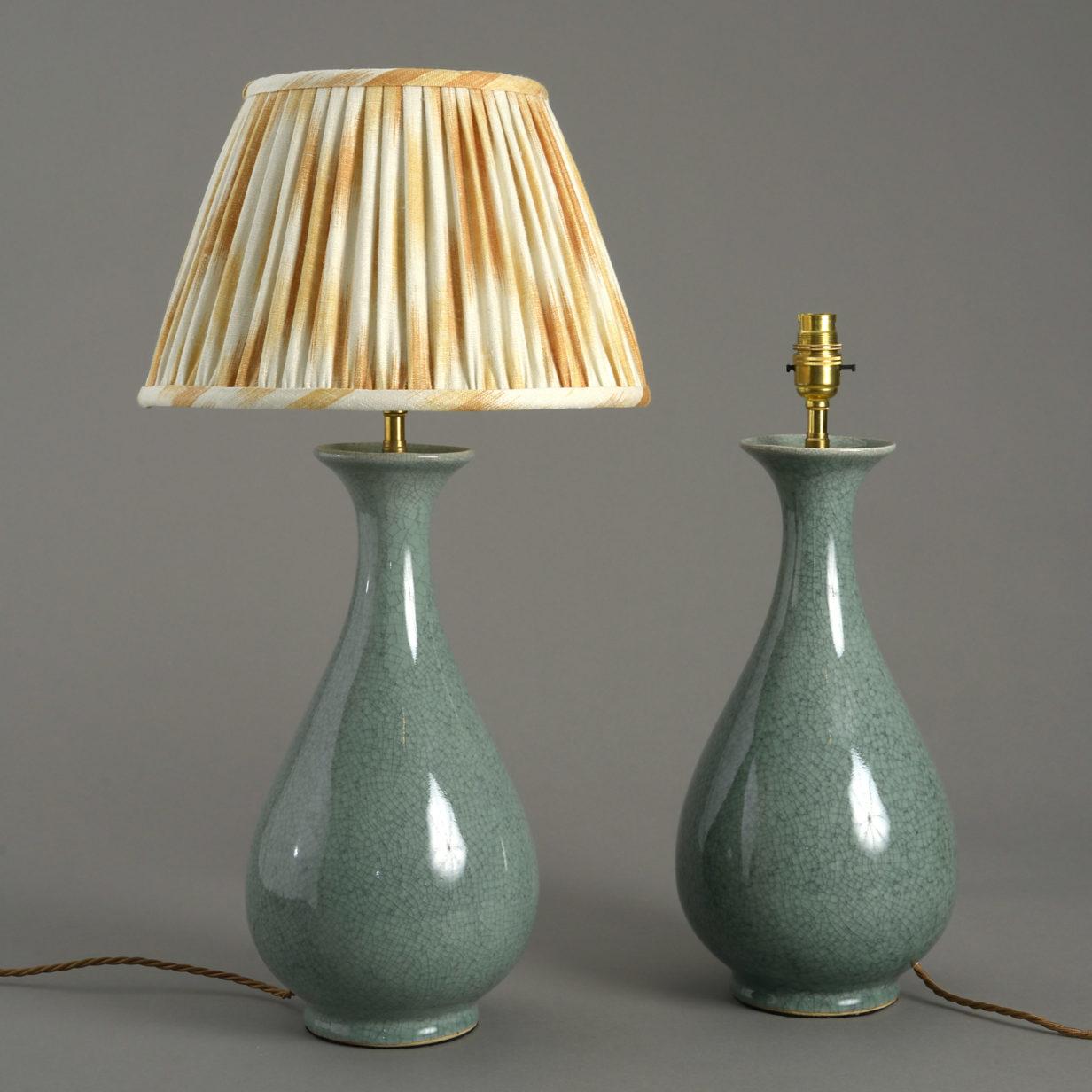 Pair of Celadon Lamps