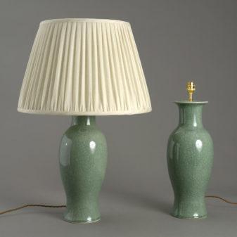 Pair of Celadon Crackle Glaze Lamps