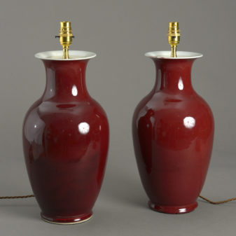Pair of Sang de Boeuf Vase Lamps