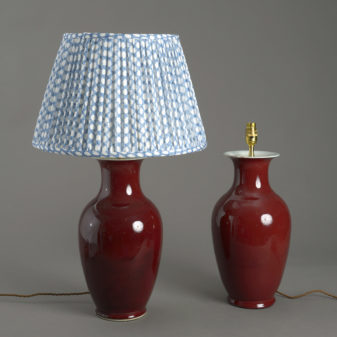 Pair of Sang de Boeuf Vase Lamps