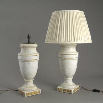 Pair of Marble Vase Lamps