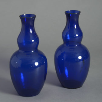 Pair of Bristol Blue Glass Vases
