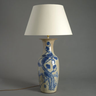 Tall Blue Glazed Vase Lamp