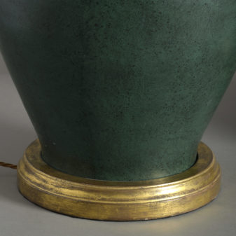 Pair of green jar lamps