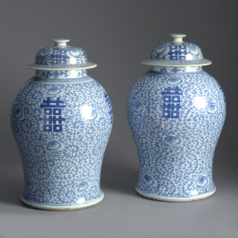 Pair of Blue and White Vases