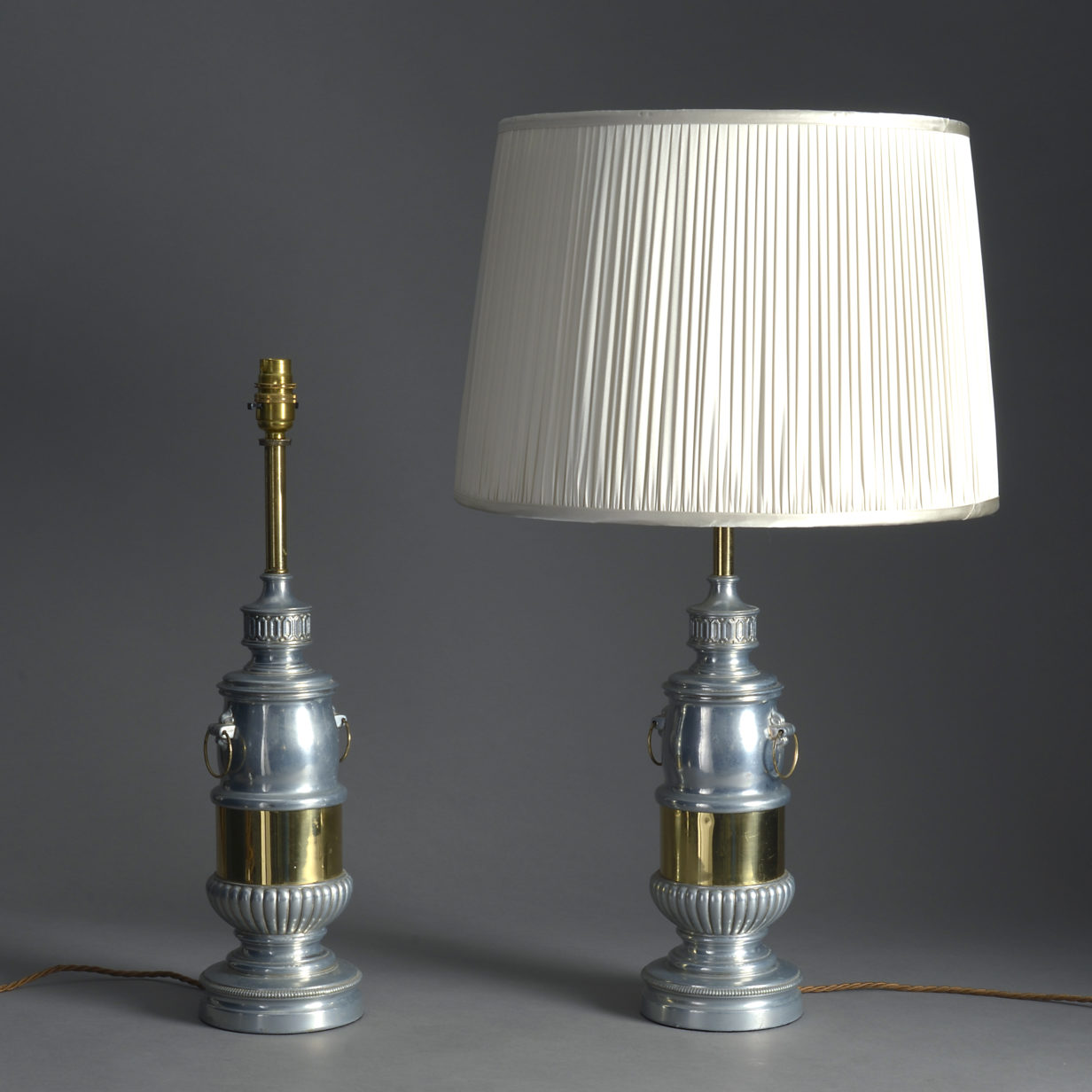 Pair of Chrome and Brass Lamps