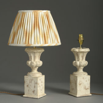 Pair of Carved Painted Lamps