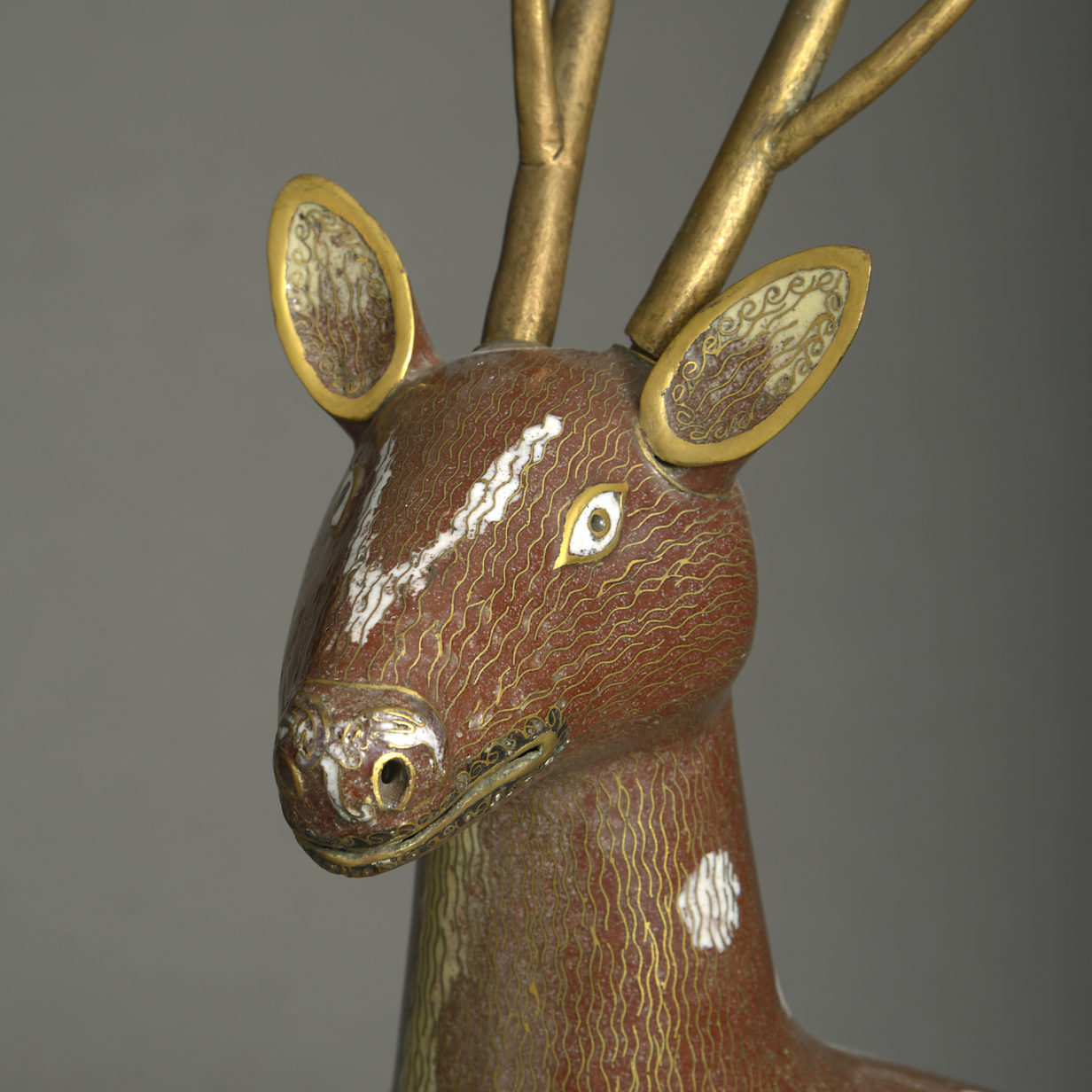Pair of Cloisonne Stags