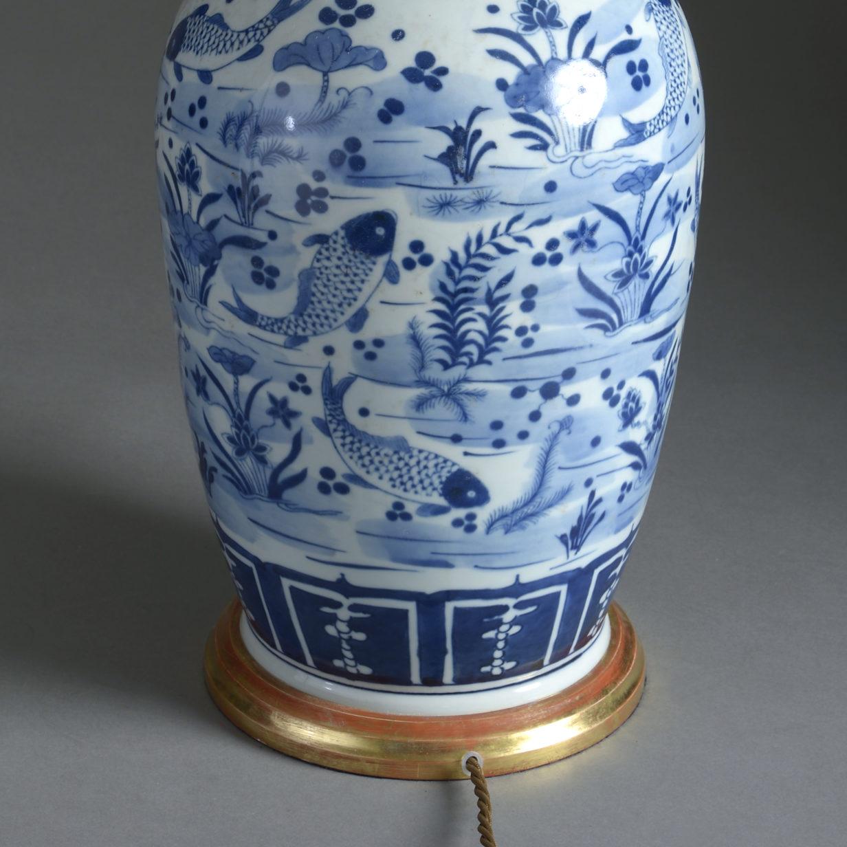 Blue & White Fish Vase Lamp