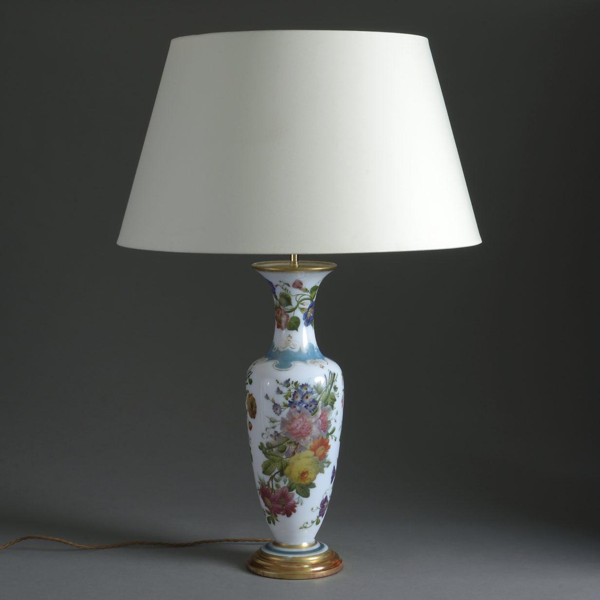 Tall Opaline Glass Lamp