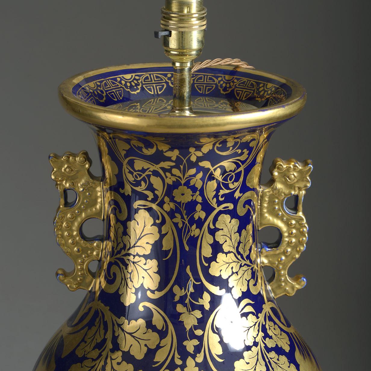 Mason's Ironstone Foliate Vase Lamp