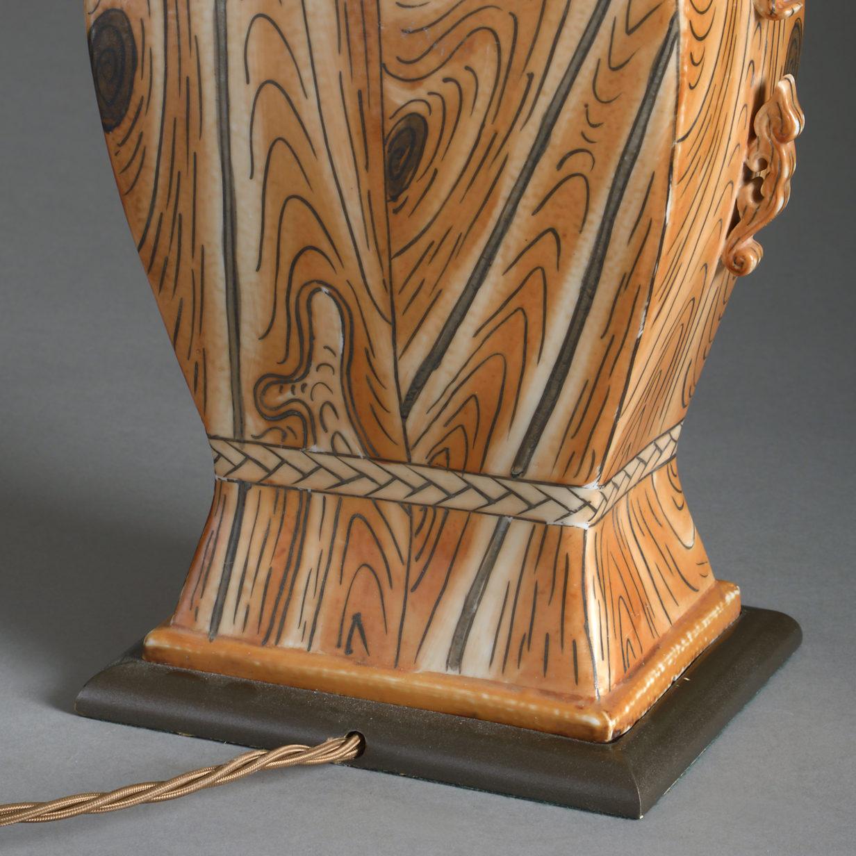 Faux Bois Pottery Lamp