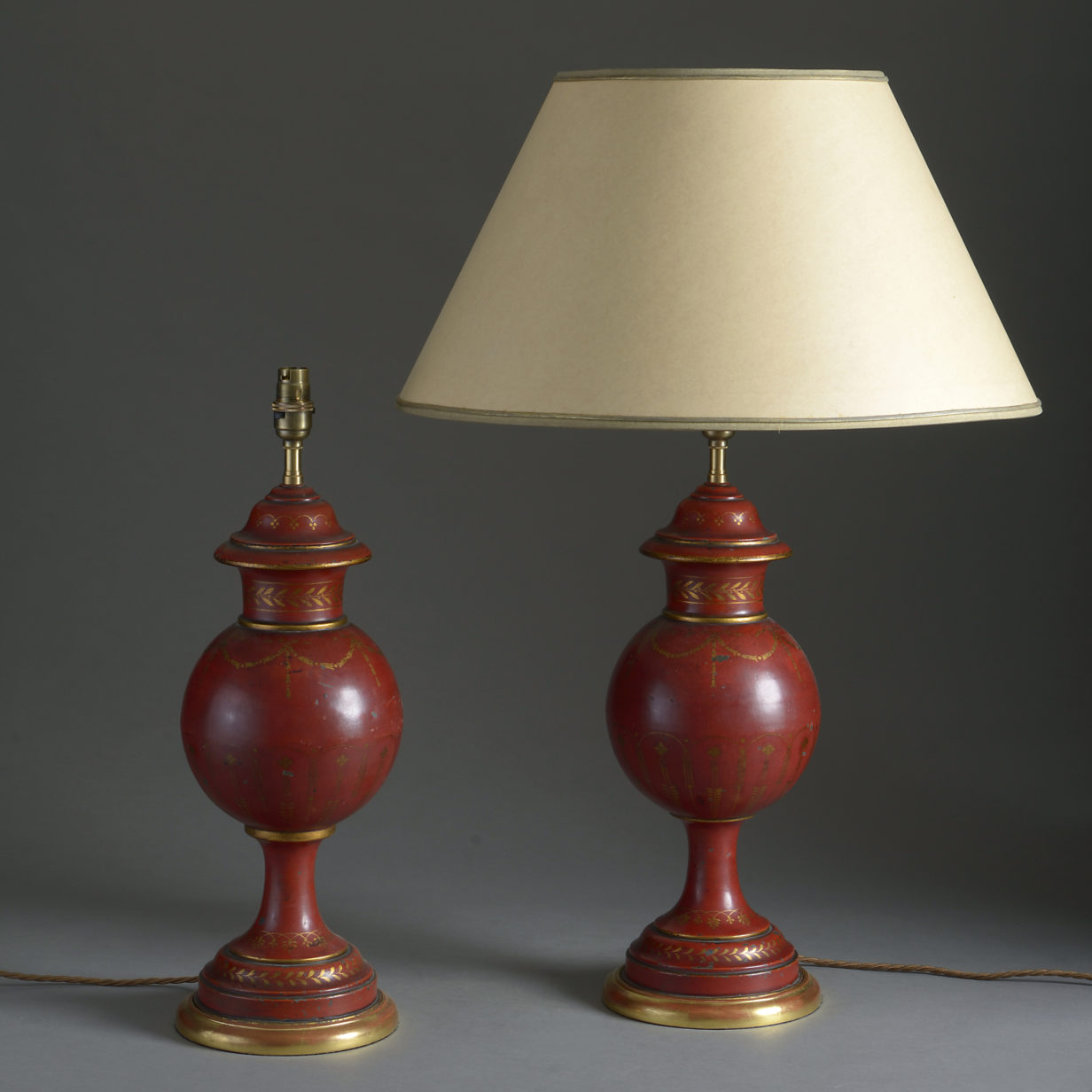 Pair of Red Tole Lamps